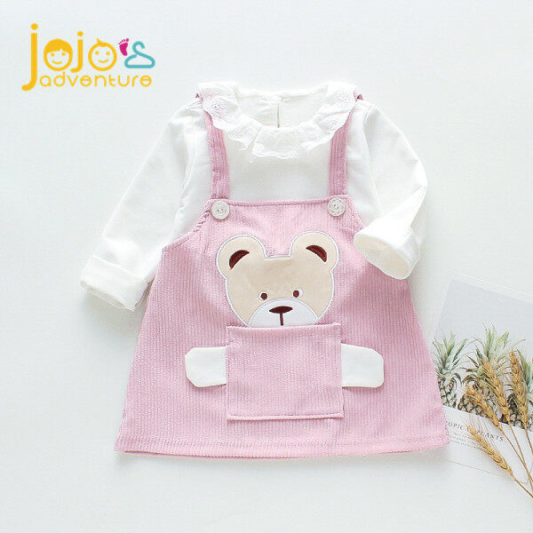 Giá bán JOJOS Adventure Đầm tay dài hình gấu nhỏ bỏ túi thời trang mùa xuân cho gé gái 0-4 tuổi - INTL