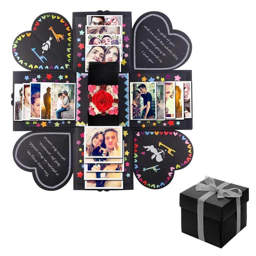 GoodGreat DIY Explosive Gift Box, Love Explosion Gift Box Kit DIY Photo Album Box with Free Stickers for Wedding Proposal Engagement Birthday Valentines Day Anniversary Gifts