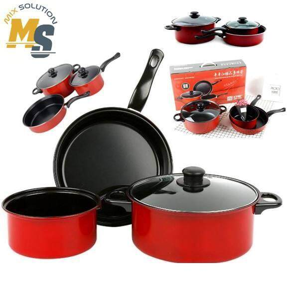 Kitchen Non-stick Pan Pot Set Red Chilli 3 IN 1 (4 PCS) Cookware Set with Lid