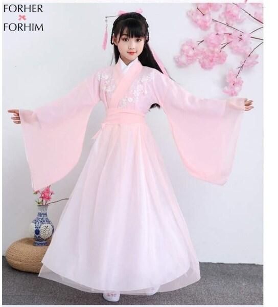 Giá bán Bộ Trang Phục Cổ Trang Cho Bé Gái FORHER, Đầm Tang Đầm Cổ Tích Trung Quốc Phong Cách Mùa Thu 2020 FHKE200267