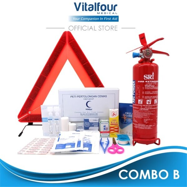 E-Hailing Fire Extinguisher 1KG ABC Dry Power and E-Hailing First Aid Kit Safety Triangle Combo Set