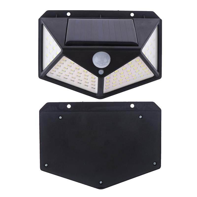 100LED Four-sided Solar Power Motion Sensor Wall Light Outdoor Garden Lamp