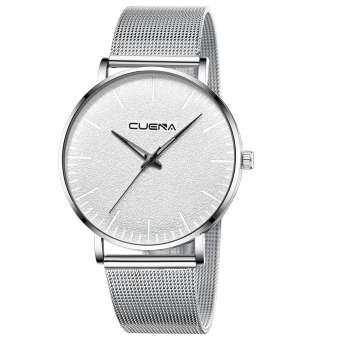 CUENA CUENA นาฬิกาผู้ชายสไตล์ลำลองกีฬานาฬิกาข้อมือควอตซ์สแตนเลสสายนาฬิกาแบบถัก-