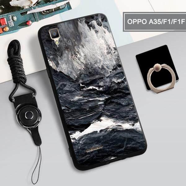 Casing untuk OPPO A35/F1/F1F 360 ° Penuh Perlindungan Ponsel Sarung Silikon Tahan Guncangan Casing Ponsel Casing Kover untuk OPPO A35/ f1/F1F, OPPO Casing Ponsel dengan Lanyard Tempat Cincin