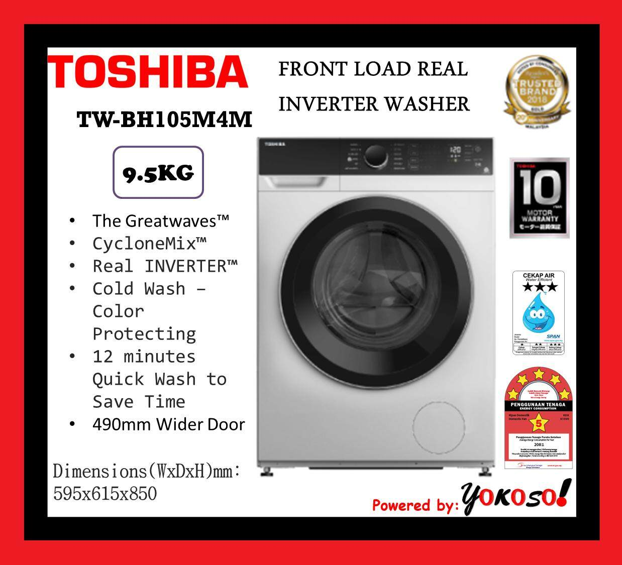 Toshiba TW-BH105M4M 9.5KG FRONT LOAD REAL INVERTER WASHER
