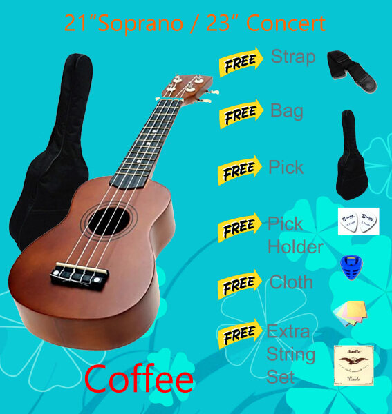 23-inch Color Concert Wooden Ukulele with Bag Malaysia