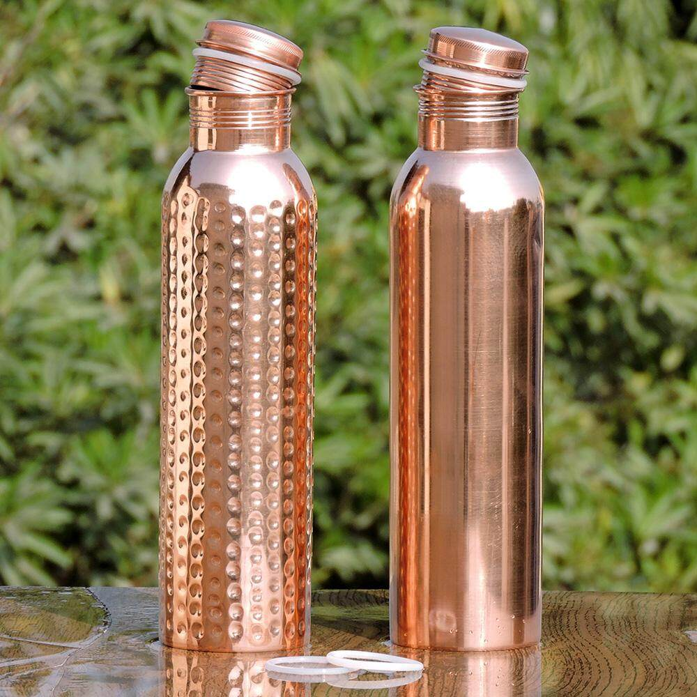 Pure Copper Water Bottle For Ayurveda Health Benefits Leak Proof Set of 02 New