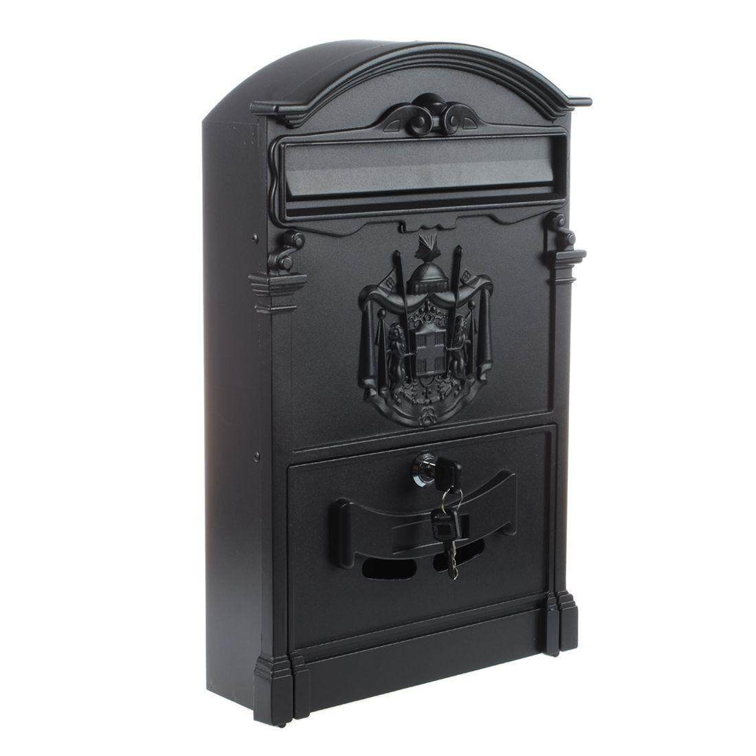 Heavy Duty Black Aluminium Lockable Secure Mail Letter Post Box Letterbox New