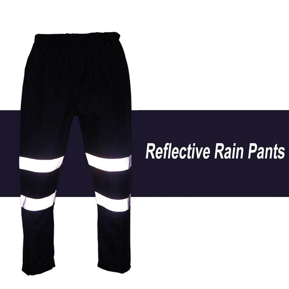 SFVest High Visibility Reflective Rain Pants Waterproof Windproof Work Rain Trousers Outdoor Traffic Hiking Riding Safety Warning