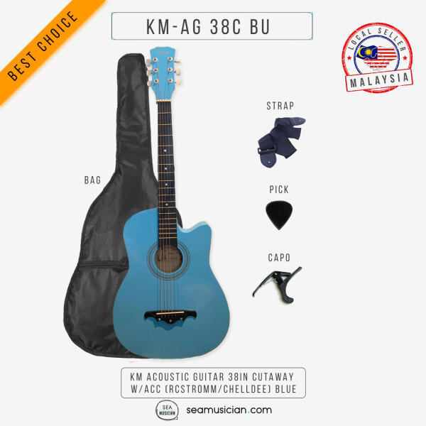 KM ACOUSTIC GUITAR 38IN CUTAWAY W/BAG AND ACCESSORIES COLOR BLUE BY RCSTROMM/CHELLDEE (38 INCH ACO GTR/ GITAR AKUSTIK/ SEAMUSICIAN) Malaysia