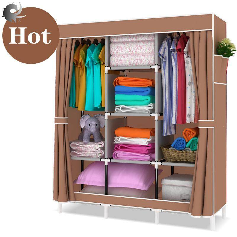 Dust-proof storage cabinet, simple wardrobe, fabric, cloth wardrobe, assembly, steel pipe, reinforced steel frame, modern and simple high-quality non-woven material (125*45*170cm)