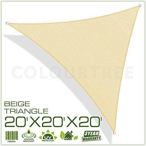 Colourtree 20 X 20 X 20 Beige Sun Shade Sail Triangle Canopy – Uv Resistant Heavy Duty Commercial Grade Outdoor Patio Carport (custom Size Available) By Cross Border.