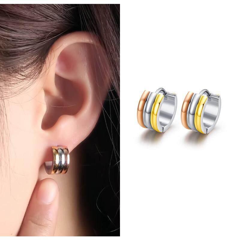 3 Colors Hoop Earrings For Women Fashion Female Jewelry Stainless Steel