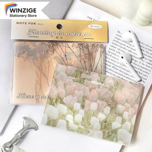 Winzige 80 Tờ Giấy Ghi Chú Ins Giấy Ghi Nhớ Hình HOÀNG HÔN Hoa Tulip Chất Liệu Nhật Ký
