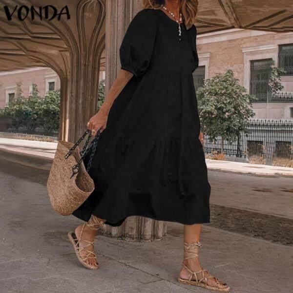 VONDA ĐẦM DỰ TIỆC Đi Club Tay Phồng Màu Trơn Mùa Hè Cho Nữ Đầm Thường Ngày Xếp Nếp