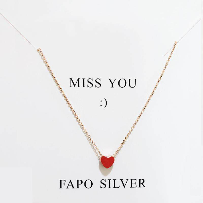 Fa po manis hati merah kecil Kalung Perak Bening perak 925 model pendek Cinta halus Rantai