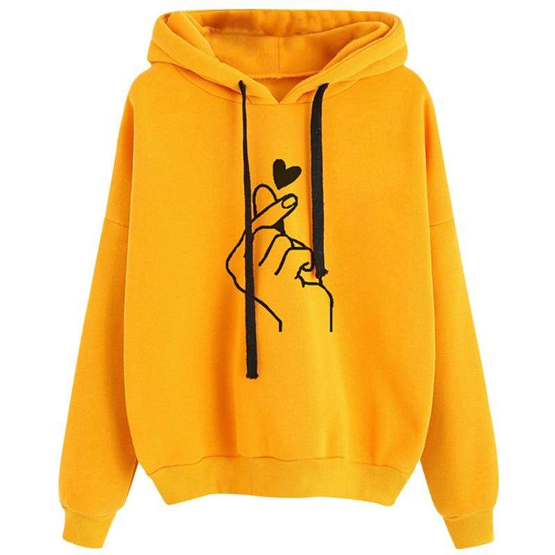 Women's Clothing Hoodies Women Hooded Thicker Plus Velvet Printed Kawaii All-match Korean Style Pullovers Womens Trendy High Quality Students Save 50-70%