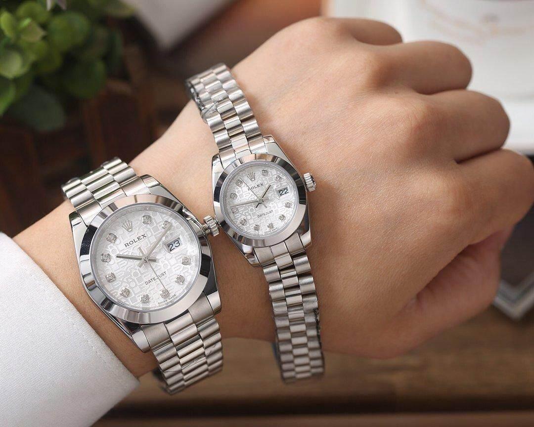 Rolex_Watch Fashion Bisnis Sederhana Kasual Kepribadian Baru 2019 Muka Jam Putih Perak Dezel Tali Baja Tahan Karat 30 Mm Tahan Air Kuarsa Jam Tangan Movement untuk Wanita