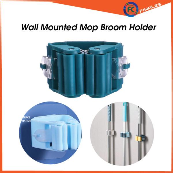 Wall Mounted Mop Broom Holder Pelekat Dinding Mop Penyapu for Kitchen Bathroom Mop Hook Punch Free Mop Holder Toilet