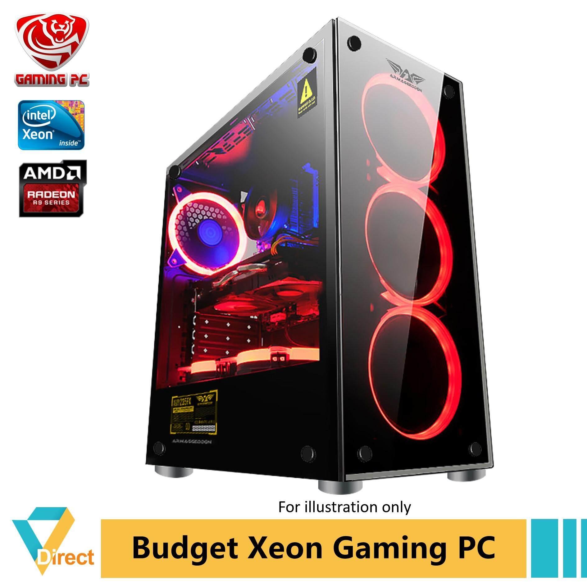 Budget Xeon gaming PC 16GB RAM 480GB SSD AMD R9 370 for PUBG LOL GTA vdgpc