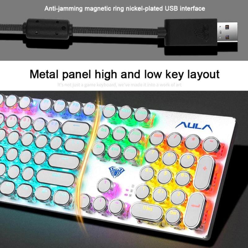 AULA F2068 104-keys Punk Round Key Cap Mixing Light Mechanical Blue Switch Metal Panel Wired USB Gaming Keyboard, Length: 1.6m Singapore