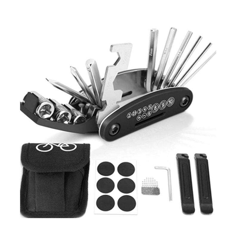 TOP(New Arrival)Bike Repair Set Bag Bicycle Multifunctional 16 in 1 Tool Kit Hex Key Wrench Tire Patch Lever Portable Handy Multi Tool
