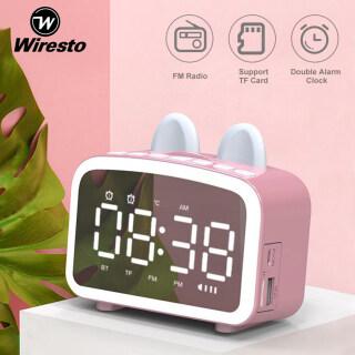 Wiresto Loa bluetooth không dây màn hình led kiêm đồng hồ báo thức, làm đèn ngủ, đo nhiệt độ phòng với mặt kính tráng gương, pin trâu hỗ trợ dây AUX và thẻ nhớ thumbnail