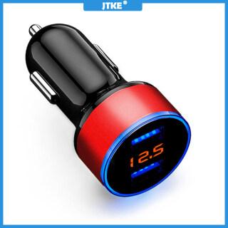 Sạc Xe Hơi USB Kép JTKE 3.1A, Màn Hình Đồng Hồ Đo Điện Áp LCD Ổ Cắm Thuốc Lá Đèn LED Xanh Dương 12-24V Bộ Chuyển Đổi Nguồn Sạc Nhanh thumbnail
