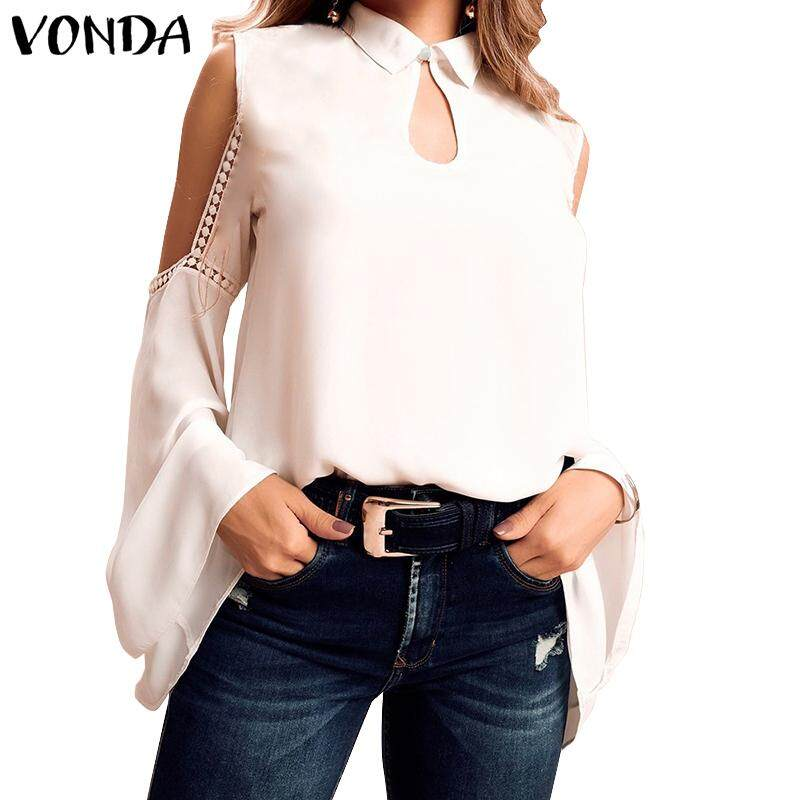 Vonda Women Chiffon Cold Off Shoulder Batwing Sleeve Turn Down Collar Shirt Top Blouse By Vonda Official Store.