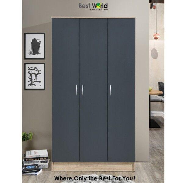 WARDROBE - Best TIIGO RB 8003 Modern Scandinavian Wardrobe (3 Doors) With Large Hanging Space