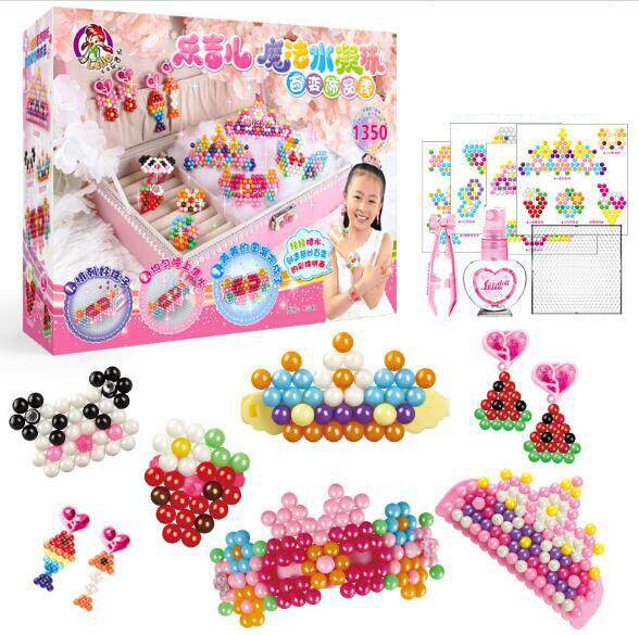 Fuse Beads, 16 Colors Water Spray Beads Set, Compatible Aquabeads Beados Magic Water Sticky Beads Art Crafts Toys Kids Beginners, 1350 Beads Refill By Fresh Air Online Store.