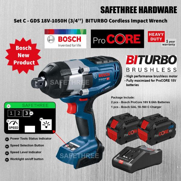 Bosch GDS 18V-1050 H (3/4'') BITURBO Cordless Impact Wrench & ProCore 18V 4.0Ah Battery + GAL 1880 CV Charger & 18V 8.0Ah Battery + GAL 1880 CV Charger ( GDS18V-1050H, GDS18V1050H )