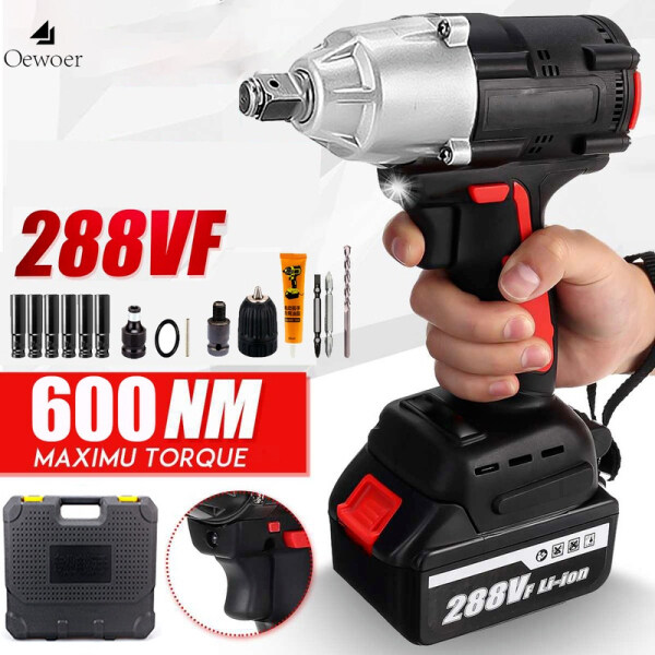 Oewoer 21V Cordless 1/2 Impact Wrench Electric Impact Wrench Repair Shelf Carpenter Electric Jackhammer Impact Wrench with 600N.m 288TV 4.0A B-attery with Driver Impact Sockets