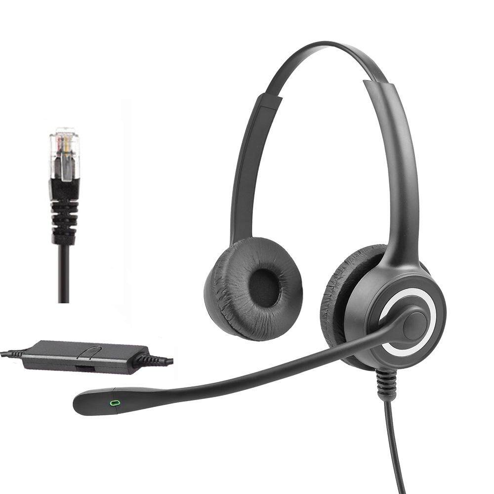 Moonmini for 228 RJ9 Crystal Head Telephone Operator Office HD Bilateral  Headset with Microphone Noise Reduction Universal Earphone