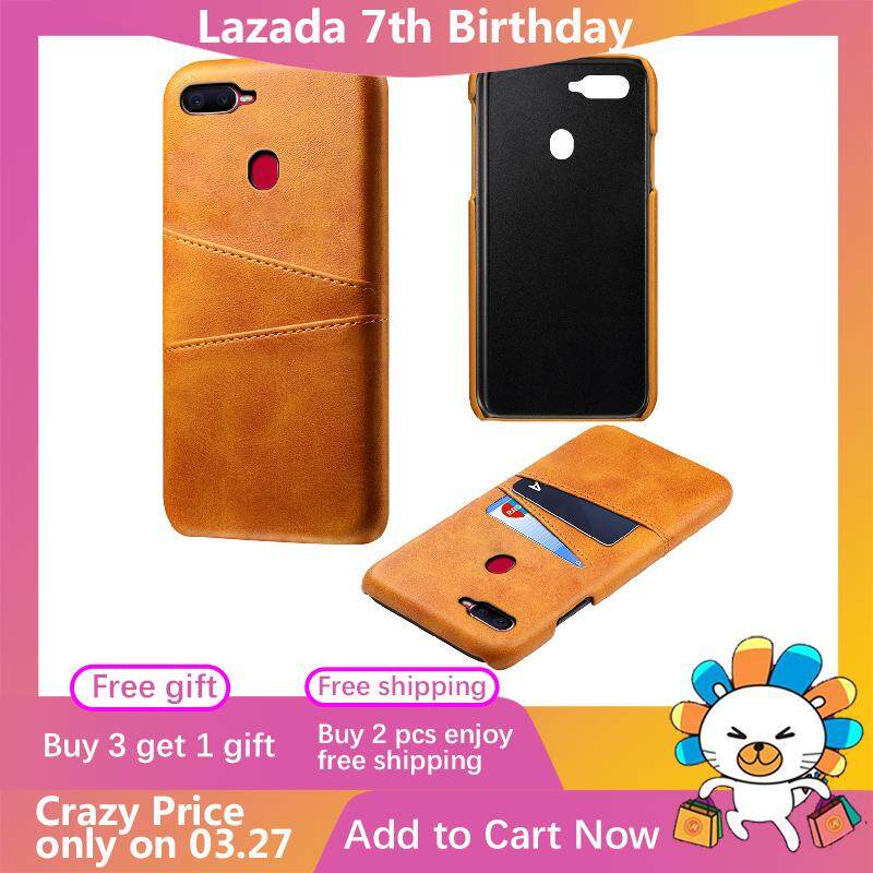 Moonmini Case for Oppo F9 Back Case Calf Grain PU Leather TPU Phone Case with Card
