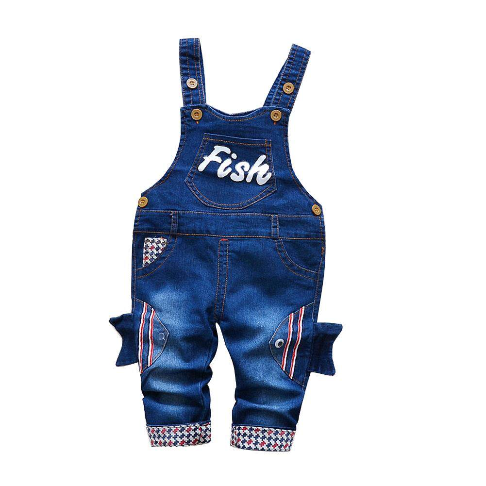 5b794bb92a Veecome Baby Goldfish Embroidered Jeans Suspender Trousers for Height  80-110cm Kids