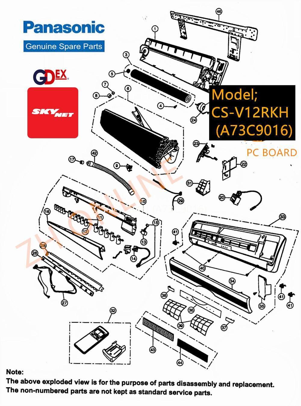 PANASONIC PC BOARD + FAN MOTOR AIR COND CS-C12MKH