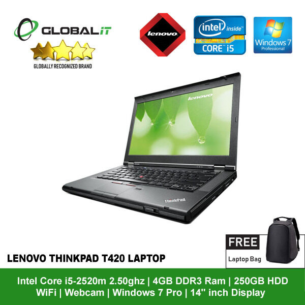 (Refurbished Notebook) Lenovo ThinkPad T420 Laptop / 14 inch LCD / Intel Core i5-2520M / 4GB DDR3 Ram / 250GB HDD / WiFi / Windows 7 / Webcam Malaysia