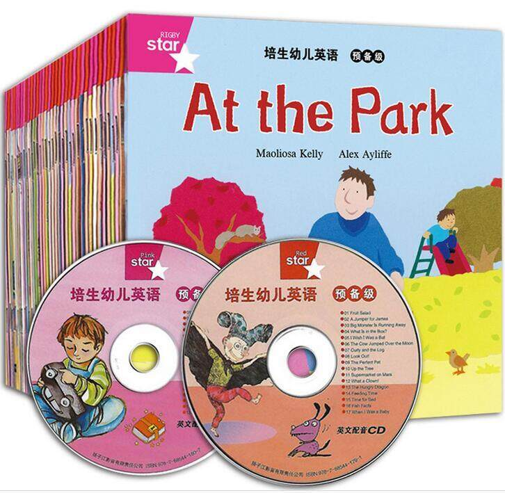 35pcs/lot Pei Sheng Primary English Picture Cartoon Story Book with DVD Kindergarten Learning Baby Child Reading Books for Kids
