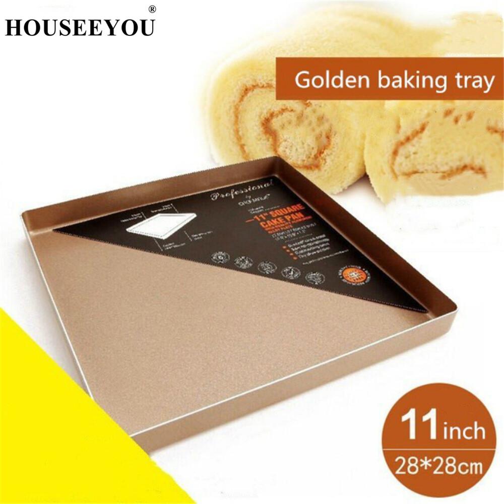 Khay Nướng Bánh Hình Vuông 11 Inch Đĩa Chống Dính Đĩa Lò Nướng Pizza Bánh Quy Bánh Mì Dụng Cụ Nấu Ăn Tự Làm Cho Nhà Bếp Gia Đình
