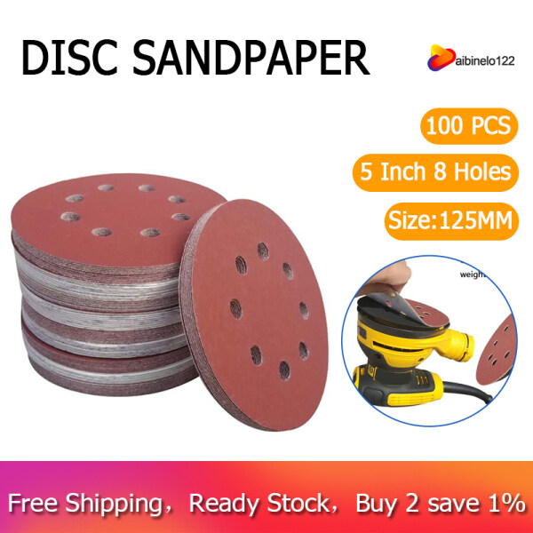 100 PCS 5 Inch 8 Holes Hook and Loop Sanding Disc Sandpaper, 20 Pcs Each of 600 800 1000 1500 2000 Grits Sand Paper for Random Track Sanders
