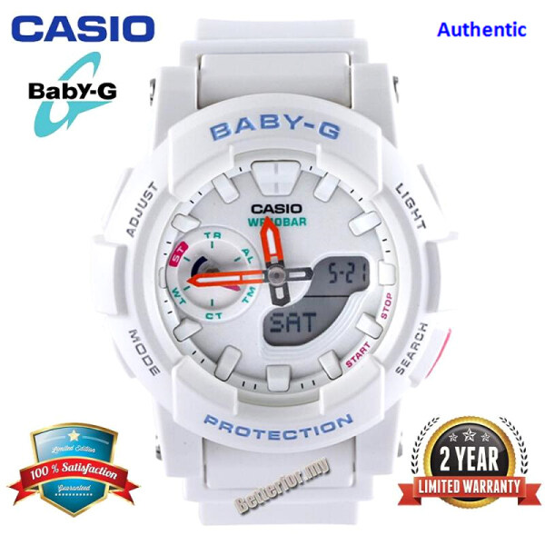 (Time Limited Offer) Original Baby G BGA185 Women Sport Watch Dual Time Display 100M Water Resistant Shockproof and Waterproof World Time LED Light Girl Sports Wrist Watches with 2 Year Warranty BGA-185-7A White Malaysia