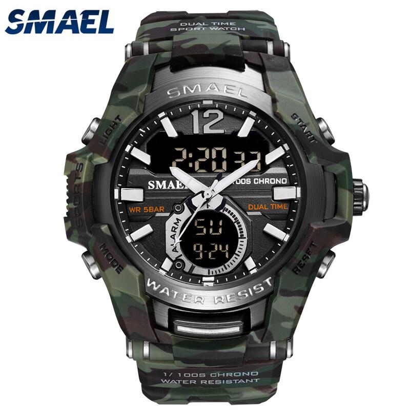 SMAEL Top Luxury Brand LED Mens Dual Display Watches Military Fashion Watch Glow Waterproof Sports Digital Alarm Camouflage Clock Malaysia