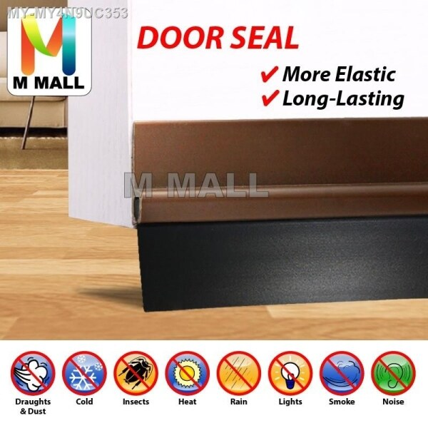 M MALL Rubber Strip Door Block Seal With Double Sided Tape 1 Meter   Twin Draft Guard Door Stopper (Grey   Black) Malaysia