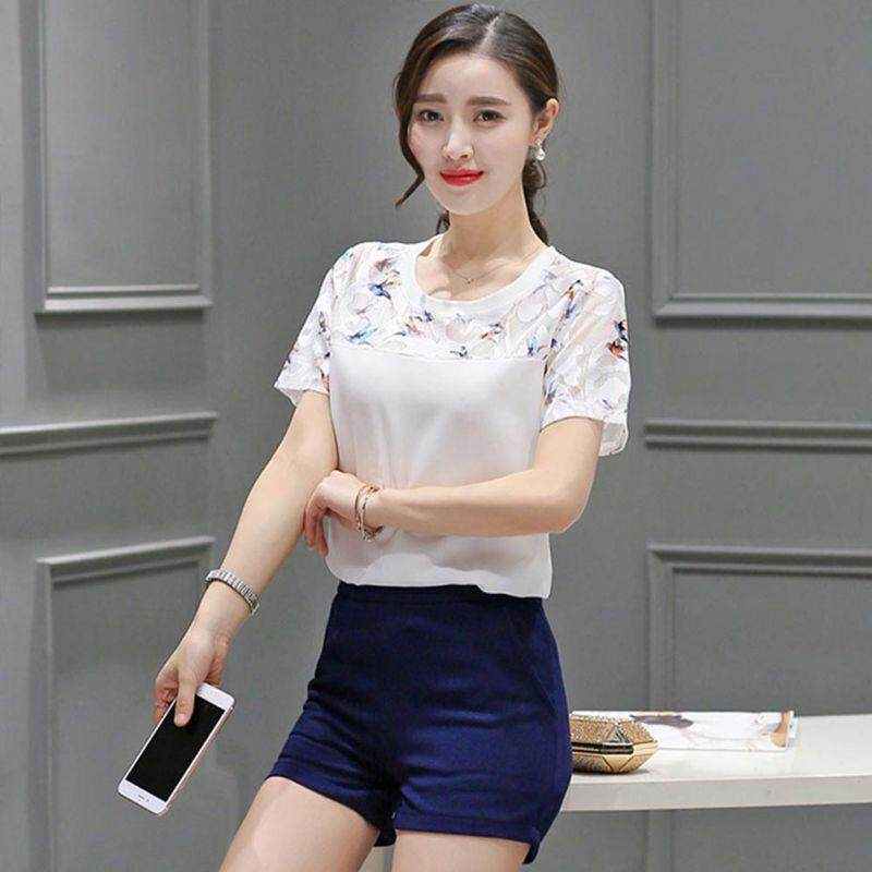 00b6db20cda5c Hollow Out Lace Hem Blouse Summer Short Sleeve Top Women White Casual Blouse