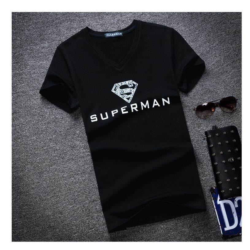 2018 Summer Men s V-neck Short-sleeved T-shirt Personality Superman Printing  T 29631efcf