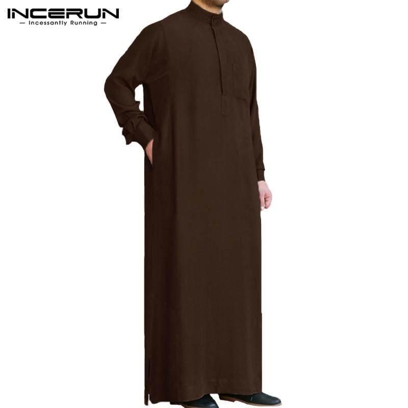 e774209ee3b INCERUN New Mens Casual Middle East Medieval Long Sleeve Arab Thobe Islamic  Solid Kaftan