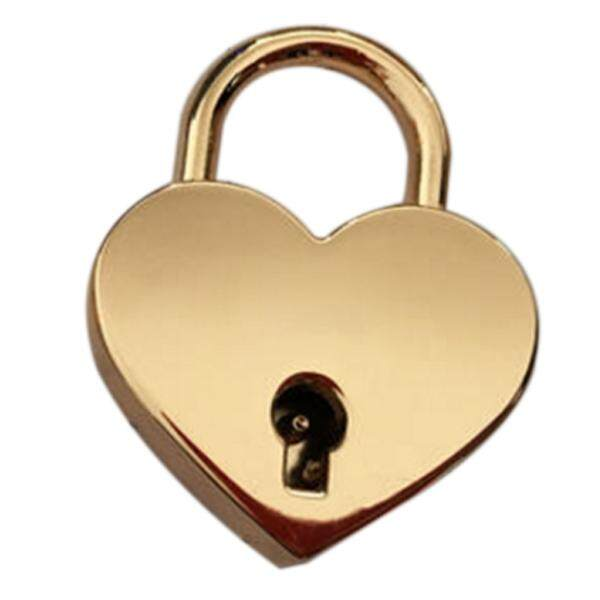 Vintage Personalized Heart Shape Padlock with Key Travel Locker Set - gold L
