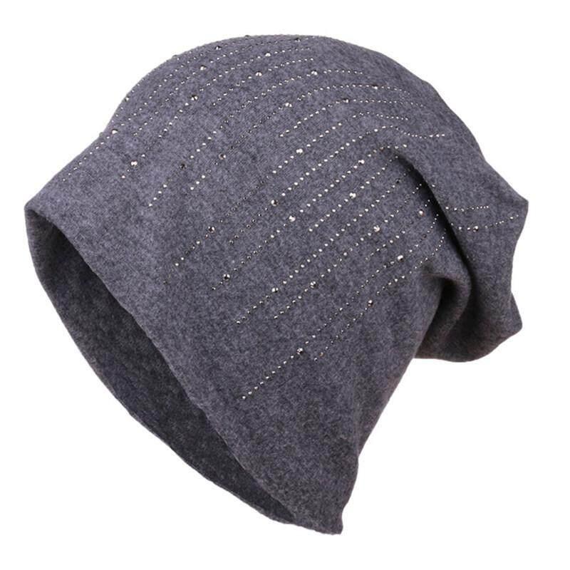 c3532a018fa8c Hequ Elegant Hats Women s Rhinestone Wool Blends Bonnet New Fashion Winter  Knitted Hat Female Solid Skullies
