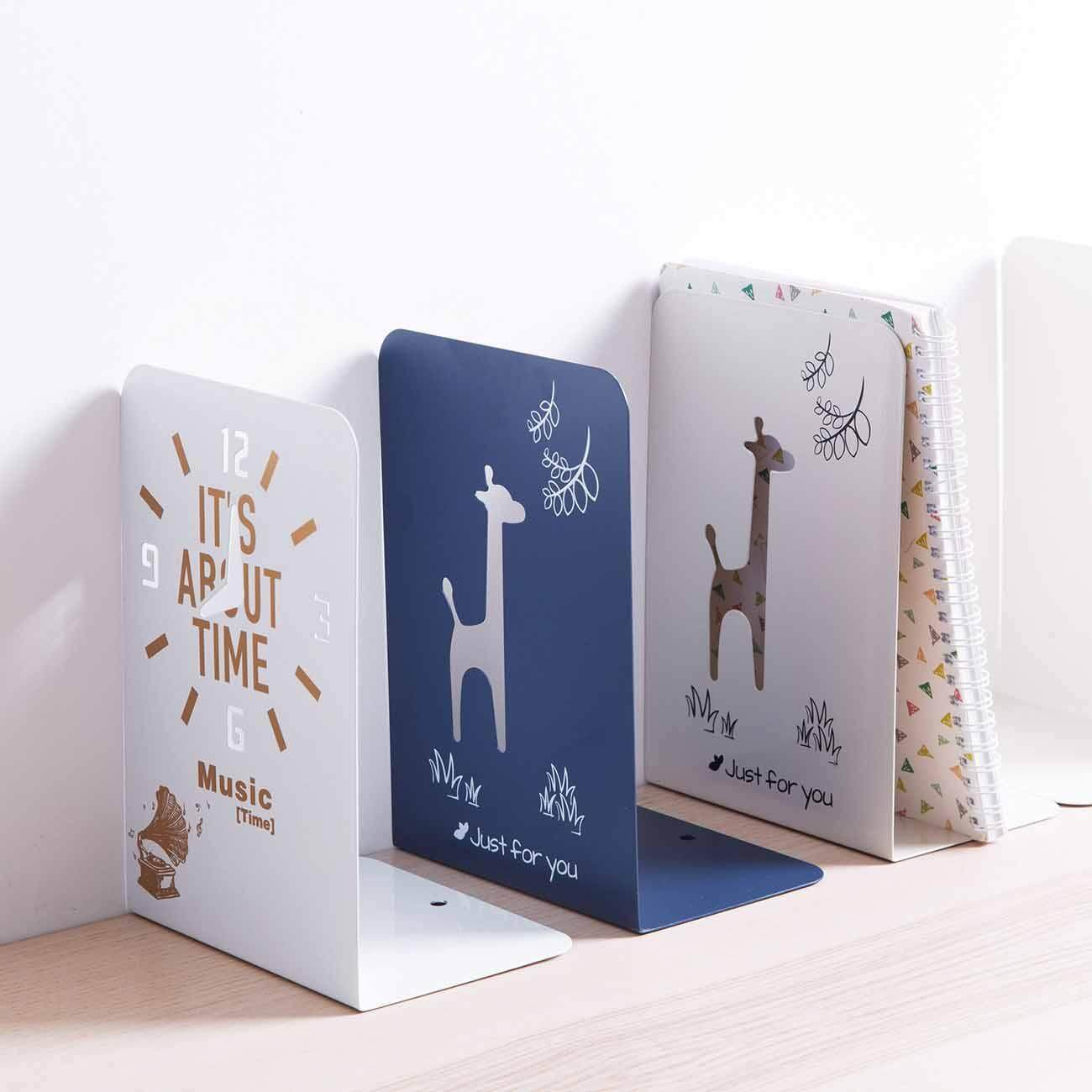 2 Pcs Metal Cartoon Book Creative Office Bookshelf Student Desk Bookends By Homenhome Official Store.